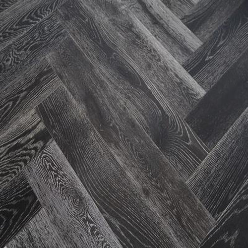 brushed stained grey white oil engineered oak herringbone