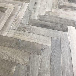 bespoke grey engineered oak herringbone brushed saw marks