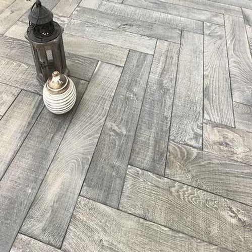 dark grey engineered oak herringbone saw marks bespoke
