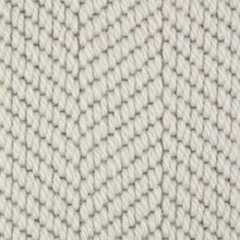 Load image into Gallery viewer, Silver textured Patterned Herringbone 100% Wool Carpet