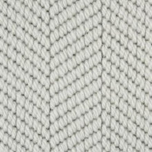 Load image into Gallery viewer, Light Grey textured Patterned Herringbone 100% Wool Carpet