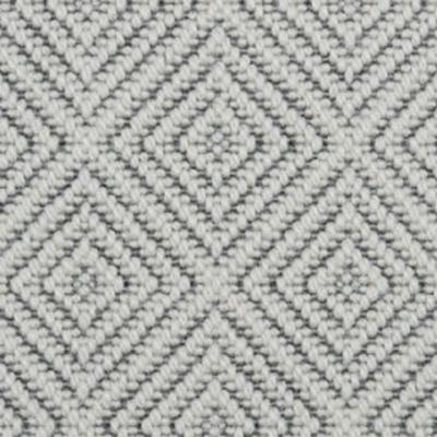 Silver Textured Diamond Pattern 100% Wool Carpet