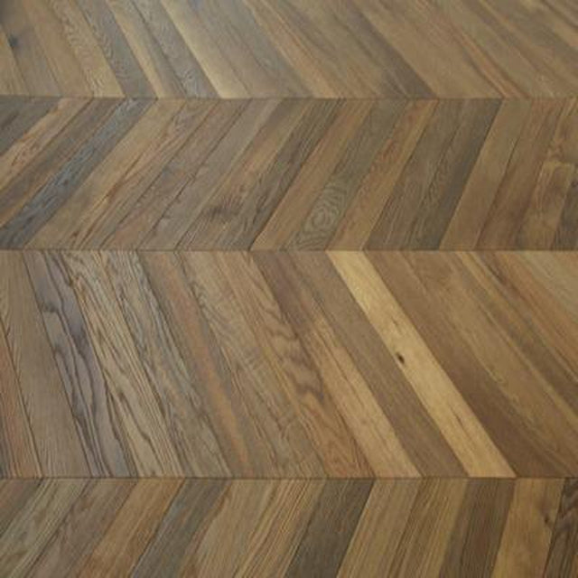 engineered smoked brushed natural oil chevron oak flooring