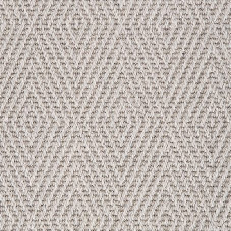 Ash Grey Diamond Patterned 100% Wool Loop Carpet