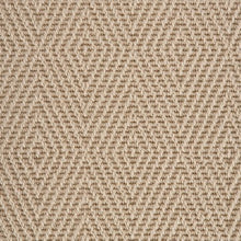 Load image into Gallery viewer, Linen Light Brown Diamond Patterned 100% Wool Loop Carpet