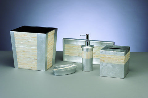 Mother of Pearl Silver Bath Set. Chateau360   Bath Accessories Sets