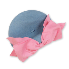 Load image into Gallery viewer, Bow Beret (Blue & Pink)