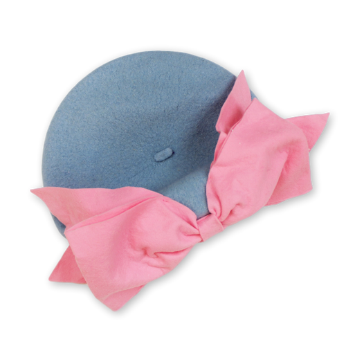 Bow Beret (Blue & Pink)