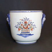 Earthenware Galleron à têtes planter with Rouen Panier hand painted decoration