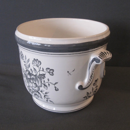 Earthenware anses anciennes planter with hand painted Strasbourg monochrome grey decoration