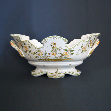 Ovale Medicis jardiniere with handpainted Moustiers decoration