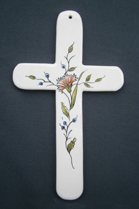 Earthenware Bourg-Joly Straight Cross with St-Omer hand painted decoration