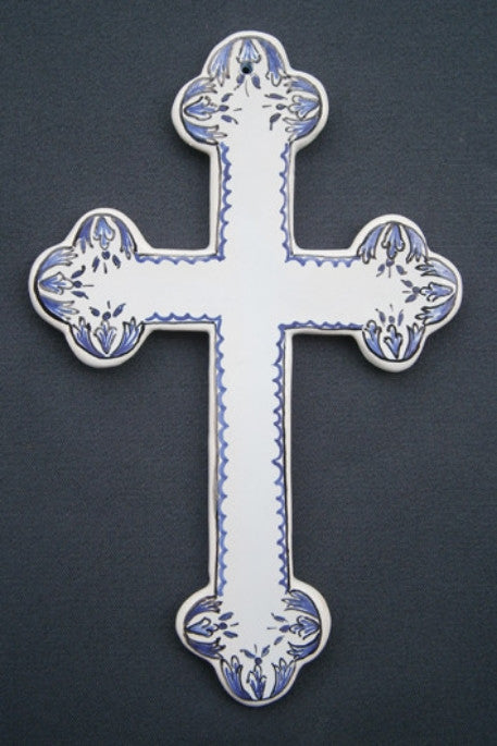 Earthenware Simple Heraldic Cross with Rouen hand painted decoration