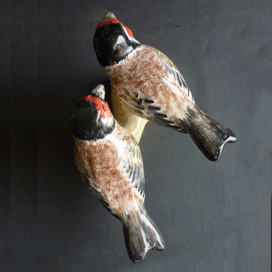 Earthenware pair of Goldfinches