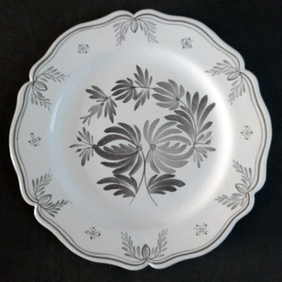 Feston Plate with hand painted decoration Antique Fleurs 93 monochrome grey