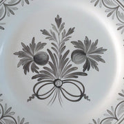 Feston Plate with hand painted decoration Antique Fleurs 87 monochrome grey