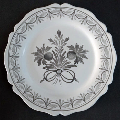 Feston Plate with hand painted Antique Fleurs 87 decoration in grey