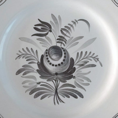 Feston Plate with hand painted Antique Fleurs 92 decoration in grey