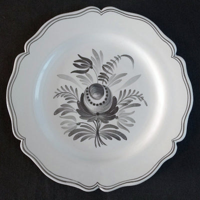 Feston Plate with hand painted decoration Antique Fleurs 92 monochrome grey