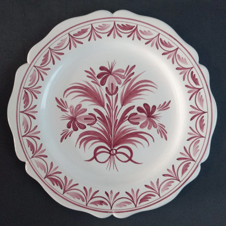 Feston Plate with hand painted Antique Fleurs 94 decoration in raspberry