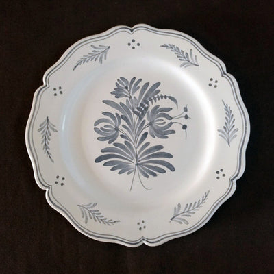 Feston Plate with hand painted decoration Antique Fleurs 2 monochrome blue