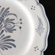 Feston Plate with hand painted Antique Fleurs 2 decoration in blue