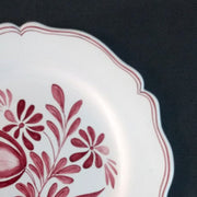 Feston Plate with hand painted decoration Antique Fleurs 89 monochrome raspberry