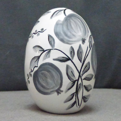 Egg with Antique Fruits monochrome grey hand painted decoration