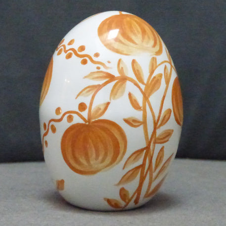 Egg with Antique Fruits monochrome orange hand painted decoration