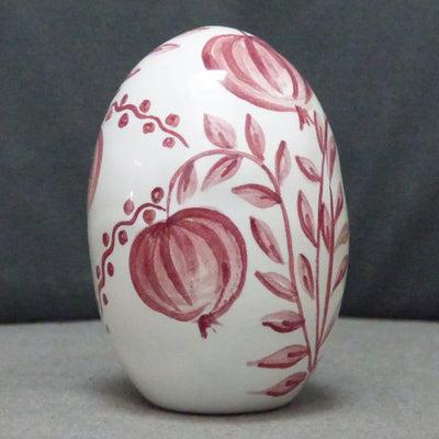 Egg with Antique Fruits monochrome raspberry hand painted decoration