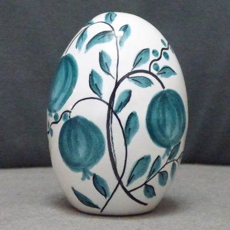 Egg with Antique Fruits monochrome turquoise hand painted decoration