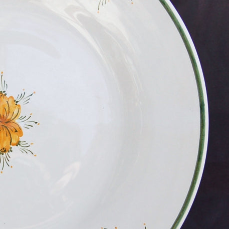 Bord Uni plate with Romantique 7 Orange Green hand painted decoration