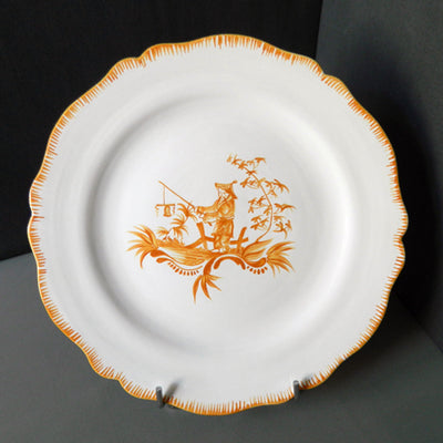 Feston plate with hand painted Chinoiserie 5 Yellow decoration