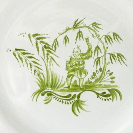 Feston plate with hand painted Chinoiserie 1 'The Merrymaker' Monochrome Green decoration