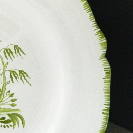 Feston plate with hand painted Chinoiserie 1 Green decoration