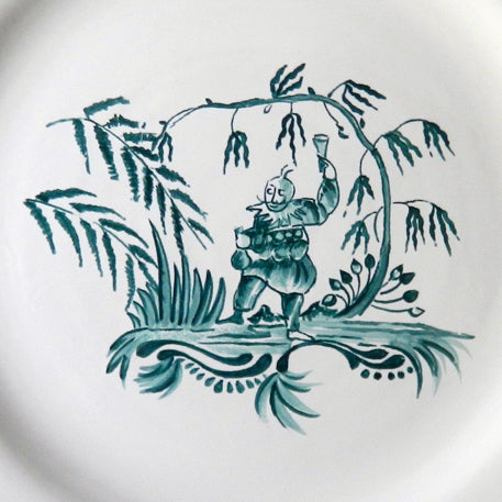 Feston plate with hand painted Chinoiserie 1 Turquoise decoration