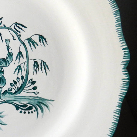 Feston plate with hand painted Chinoiserie 1 'The Merry Maker'  monochrome Turquoise decoration
