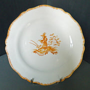 Feston plate with hand painted Chinoiserie 2 Yellow decoration
