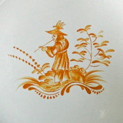 Feston plate with hand painted Chinoiserie 2 'The Pipe Smoker' monochrome Yellow decoration