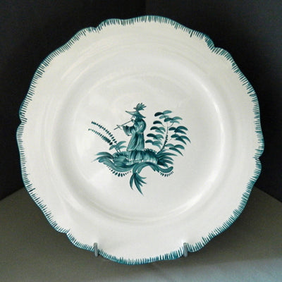 Feston plate with hand painted Chinoiserie 3 'The Pipe Smoker' monochrome Turquoise decoration