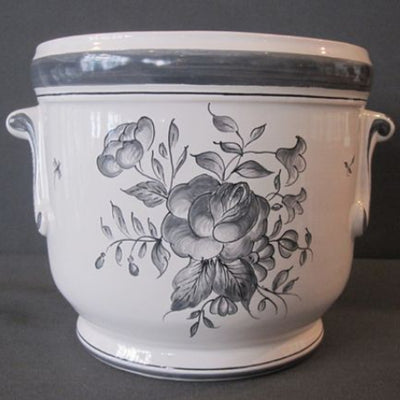 Anses anciennes planter with hand painted Strasbourg monochrome grey decoration