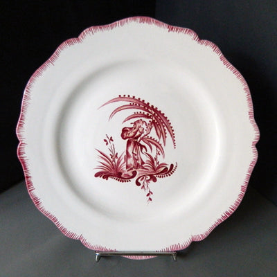Feston plate with hand painted Chinoiserie 4 Raspberry decoration