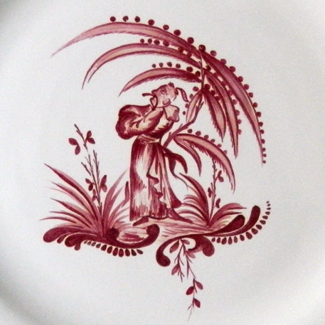 Feston plate with hand painted Chinoiserie 6 'The Thinker' monochrome Raspberry decoration