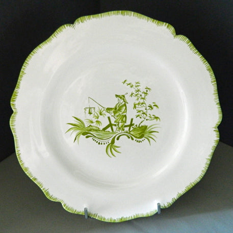Feston plate with hand painted Chinoiserie 5 Green decoration