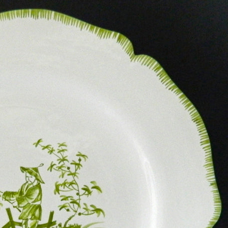 Feston plate with hand painted Chinoiserie 5 'The Fisherman' monochrome Green decoration
