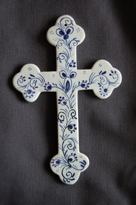 Earthenware Simple Heraldic Cross with Delft Rouen hand painted decoration