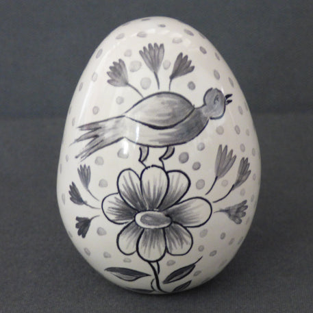 Egg with Delft monochrome grey hand painted decoration
