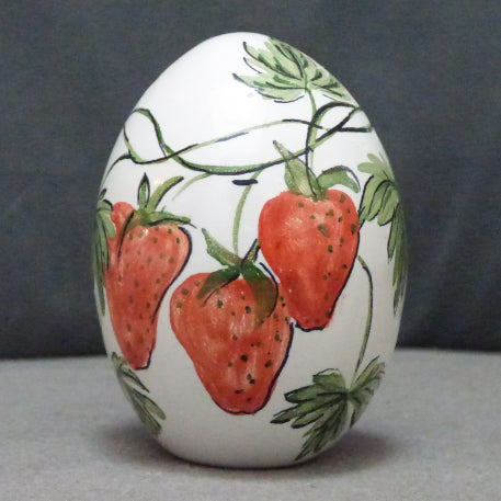 Egg with Strawberry polychrome hand painted decoration