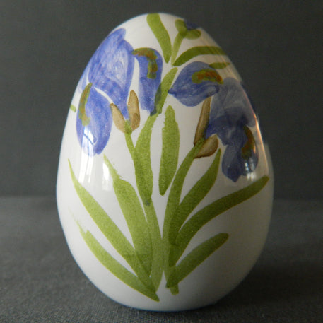 Egg with Iris polychrome hand painted decoration