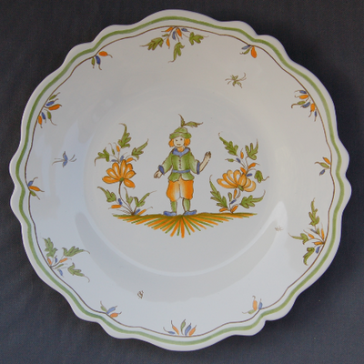 Feston plate with Moustiers 13 hand painted decoration
